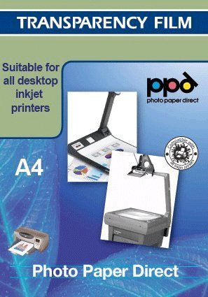 PPD A4 Equivalent to LTR 8.5x11'' Inkjet Transparency Film (Overhead Projector Film) X 50 Sheets -Instant Dty by Photo Paper Direct