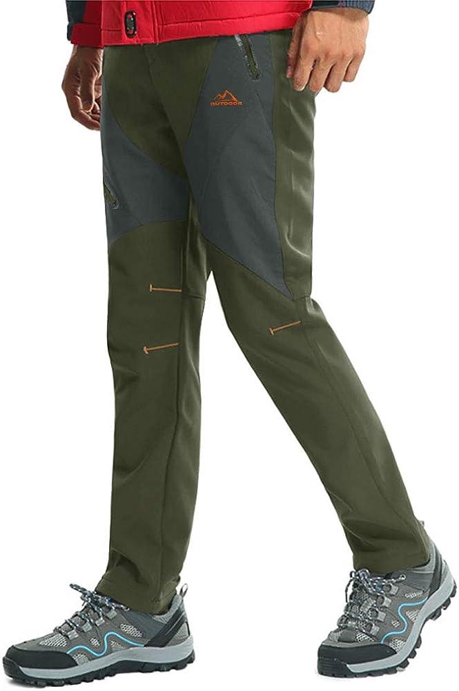 MAGCOMSEN Mens Waterproof Trousers Softshell Winter Outdoor Work Trousers Fleece Lining Ski Hiking Pants