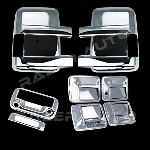 Razer Auto Super Duty Triple Chrome Plated Mirror, 4 Door Handle without Passenger Keyhole, Tailgate Handle with Camera Hole Cover for 08-15 Ford F250+F350+F450