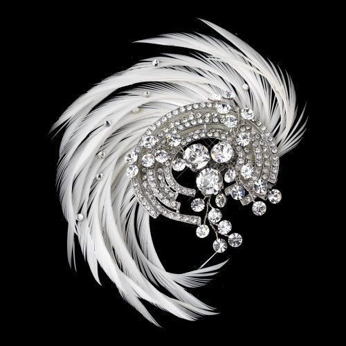 Addison Crystal - Addison Antique Rhodium Crystal & Ivory Feather Fascinator Wedding Bridal Tiara Comb by Elegance by Carbonneau