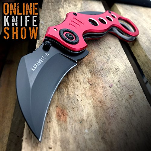 Crkt Bear Claw - New TACTICAL RED SPRING KARAMBIT ASSISTED POCKET Eco'Gift LIMITED EDITION Knife with Sharp Blade Open Folding Bear Claw Blade