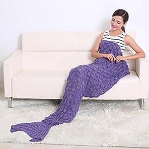 Mermaid Tail Blanket, Soft Yarn Crochet Knitting Sofa Snuggling Sleeping Bag for All Seasons Adult Kids Birthday Gift (Turquoise) (Purple)