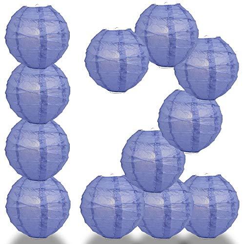 Quasimoon Paperlanternstore.com 12 Pack - 12 Inch Astra Blue Crisscross Ribbing, Hanging Paper Lantern Combo Set (Astra Table Light)