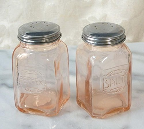 (Pink Amber Depression Style Glass Salt and Pepper Shakers)