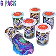 Kicko Marbled Unicorn Color Slime - Pack of 6 Colorful Galaxy Sludgy Gooey Fidget Kit for Sensory and Tactile