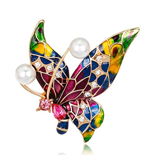 (NOMSOCR Colorful Butterfly Broochs Diamond Insect Themed Butterfly Brooch Fashion Shell Pearl Brooch Pin (Butterfly))
