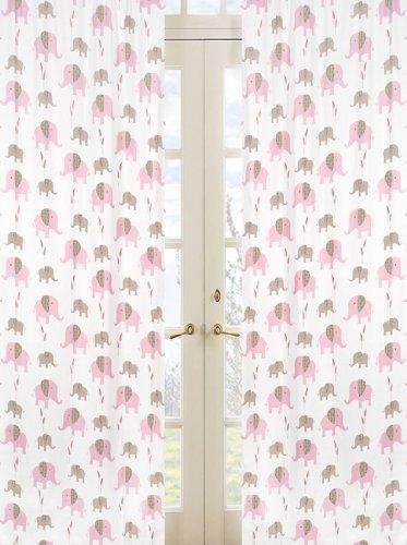 (Sweet Jojo Designs 2-Piece Mod Elephant Pink and Brown Window Treatment Panels)