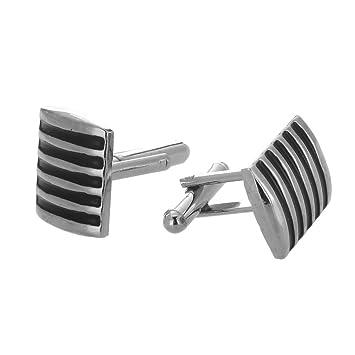 SODIAL(R) Un mancuernas Moderno y elegante cuadrado de plata negro rayas: Amazon.es: Hogar