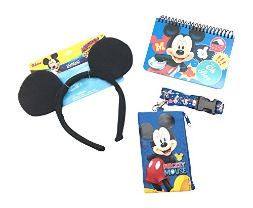 Vacation Mouse (Disney Mickey Mouse or Minnie Mouse Ears, Official Disney Autograph Book, and Disney Lanyard with coin bag (Mickey Ears Set))