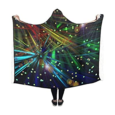 Jnseff Hooded Blanket Lines Fireworks Star Abstract Light Blanket 60x50 Inch Comfotable Hooded Throw Wrap
