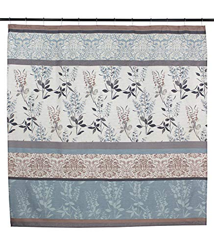 Serafina Home Light Blue Beige Grey Fabric Shower Curtain for Bathroom: Contemporary Floral Bordered Damask Design - Elegant floral and stripe motif, this Ashly shower curtain provides a stylish addition to your bathroom. The botanical pattern with flowers, leaves and branches creates a light and refreshing welcome to any space. Easy hanging with 12 stitched buttonhole openings Material: 100% Polyester cloth; Canvas textured style fabric with a soft textured feeling creates a light and airy feeling. - shower-curtains, bathroom-linens, bathroom - 51Pu%2BTacKXL -