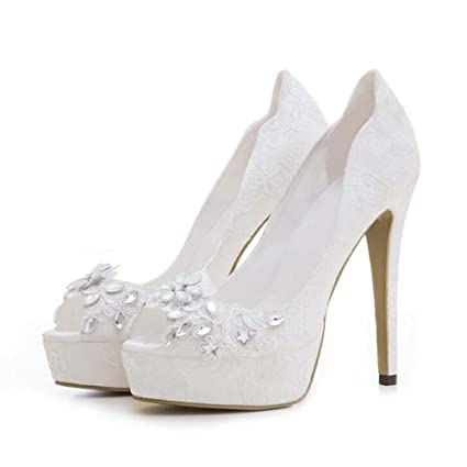 78eeac6726e Onfly Women Pump 12cm Stiletto 3cm Thick Platform Peep Toe Wedding Shoes  Dress Shoes Charming Lace Rhinestone Pure Color Court Shoes Party Shoes EU  Size 33- ...