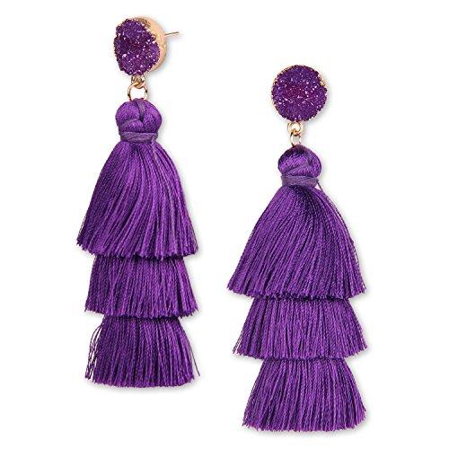 - YOUTH UNION Colorful Tassel Earrings Multilayered Bohemian Style Dangle Drop Tiered Druzy Stud Earrings for Women Girls (Purple)