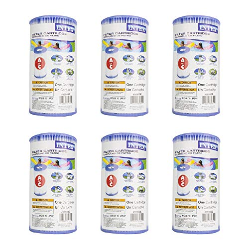 Pool Pump Leisure Filter Aqua - (Pack of 6) Intex 29000E/59900E Easy Set Pool Replacement Type A or C Filter Cartridge