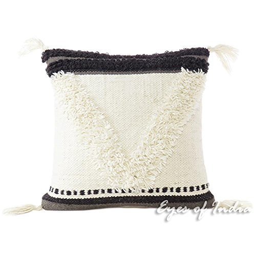 """Eyes of India - 20"""" White Black Woven Pillow Tufted Wool Embroidered on Cotton Cushion Cover Fringe Tassel Sofa Throw Cover ONLY"""