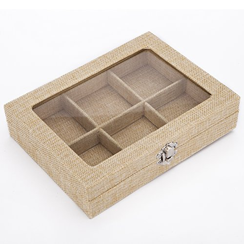 Stylish Contemporary Jewellery Gift Storage Compartment Box, Tray Style. Luxurious Hessian Linen Fabric Covered. Safe Glass Style Lid with Hessian Border - Natural, Janeo (Halloween Costumes With Next Day Delivery)