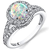 Created Opal Halo Ring Sterling Silver 1.25 Carats Size 7