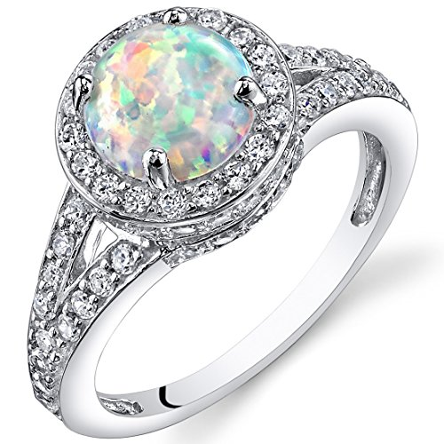 Peora Created White Opal Ring in Sterling Silver, Vintage Halo Design, Round Shape, 7mm, 1.25 Carats, Size 9