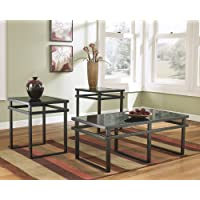 Lane 3pc Black Metal and Glass Coffee End Table Set