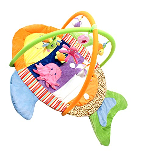 Dovewill Baby Musical Sensory Play Mat Animals Soft Cotton Play Gym - Fish, as described by Dovewill (Image #10)