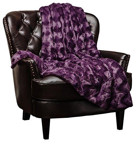 Chanasya Super Soft Warm Elegant Cozy Fuzzy Fur Fluffy Faux Fur with Sherpa Wave Shape Embossed Plush Aubergine Microfiber Throw Blanket (50 x 65) - Solid Dark Purple