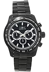 Invicta Men's 'Speedway' Quartz Stainless Steel Automatic Watch, Color:Black (Model: 21815)