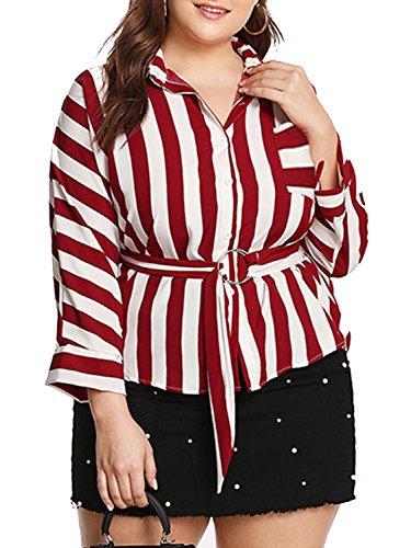 Simplee Plus Women's Stripe Button Down Belted Chiffon Blouse Shirt ()