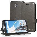 Nexus 6 Wallet Case - VENA [vFolio] Slim Vintage Leather Wallet Flip Stand Case with Card Slots for Google Nexus 6 (Gray/Black)