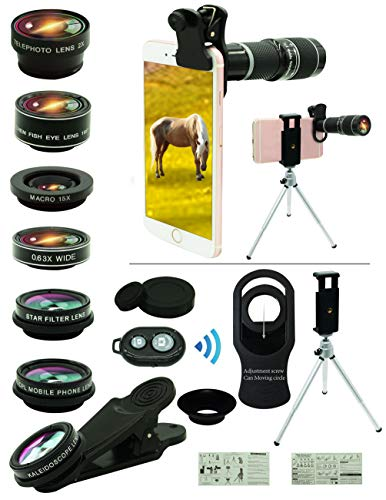 (Cell Phone Camera Lens Kit,11 in 1 Universal 20x Zoom Telephoto Lens,0.63Wide Angle+15X Macro+198°Fisheye+2X Telephoto+Kaleidoscope+CPL/Starlight/Eyemask/Tripod/Remote,for Most Smartphone (Black))