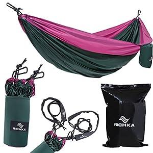 Camping Hammock – Double Hammock – Portable Hammock – Best Outdoor Travel Hiking Patio Beach Hammock - Parachute Lightweight Nylon Hammock – Two Person Hammock – Large Hammock - Hammock with straps
