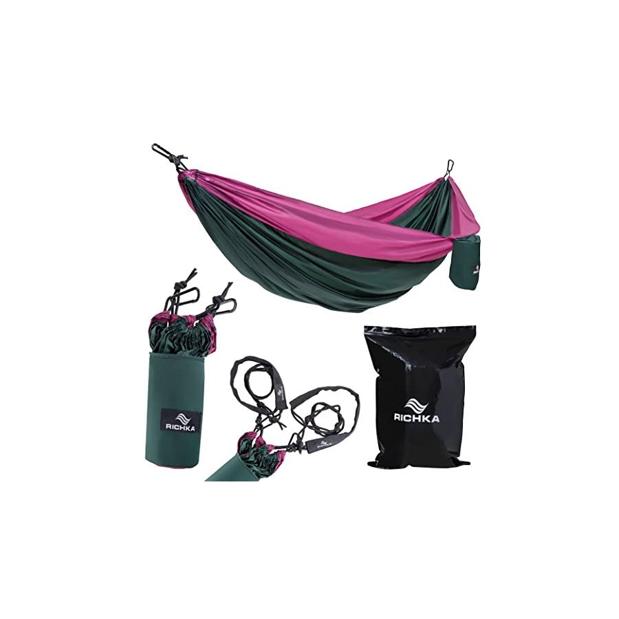 RICHKA Camping Hammock Double Hammock Portable Hammock Best Outdoor Travel Hiking Patio Beach Hammock Parachute Lightweight Nylon Hammock Two Person Hammock Large Hammock (Green, Purple)