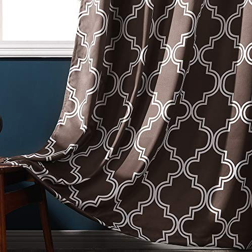 MIULEE 2 Panels Geometric Moroccan Lattice Print Blackout Room Darkening Curtains Thermal Insulated Grommet Top Coffee Curtain Panels for Living Room Bedroom Kid's Room 52WX84L - Lattice Brown