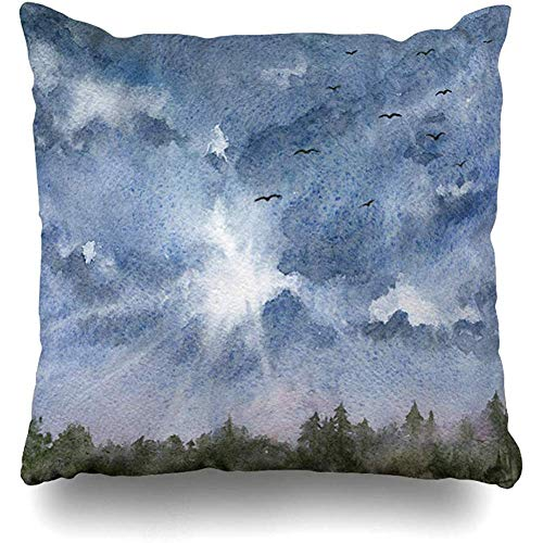 Throw Pillow Cover Cushion Cases Tree Watercolor Autumn Blue Cloudy Sky Forest Foursquare Nature Area Bird Bright Cloud Day Daylight Home Decor Design Square Size 18