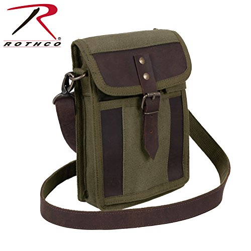 Rothco Canvas Travel Portfolio, Olive Drab/Leather ()