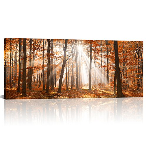 KLVOS Large Autumn Forest Canvas Print Wall Decor Oil Painting Birch Trees Landscape Picture Yellow Wall Art for Living Room Modern Home Decor Framed and Stretched Ready to Hang (20x48 Maple Tree)