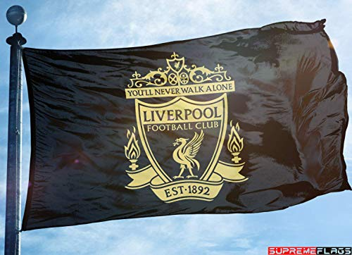 (Liverpool Flag Banner 3x5 ft England Premier Football Soccer Black Gold Premium)