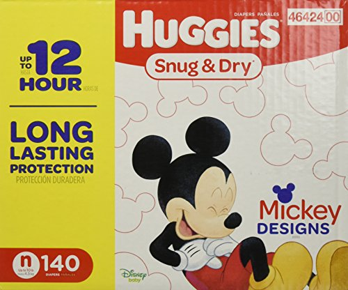 HUGGIES Snug & Dry Diapers - Size Newborn - 140 Count - GIGA JR PACK (Packaging May Vary)