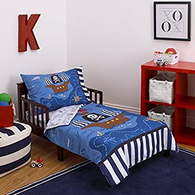 finest selection 2027c f43a5 Little Tikes 4 Piece Pirates Toddler Bedding Set, Blue/Red/Black, 52