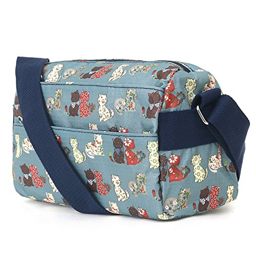 Shoulder Blue Tote ililily Cross Lightweight Bag Pattern Zipper Body Bag Cats Strap qwUX6q