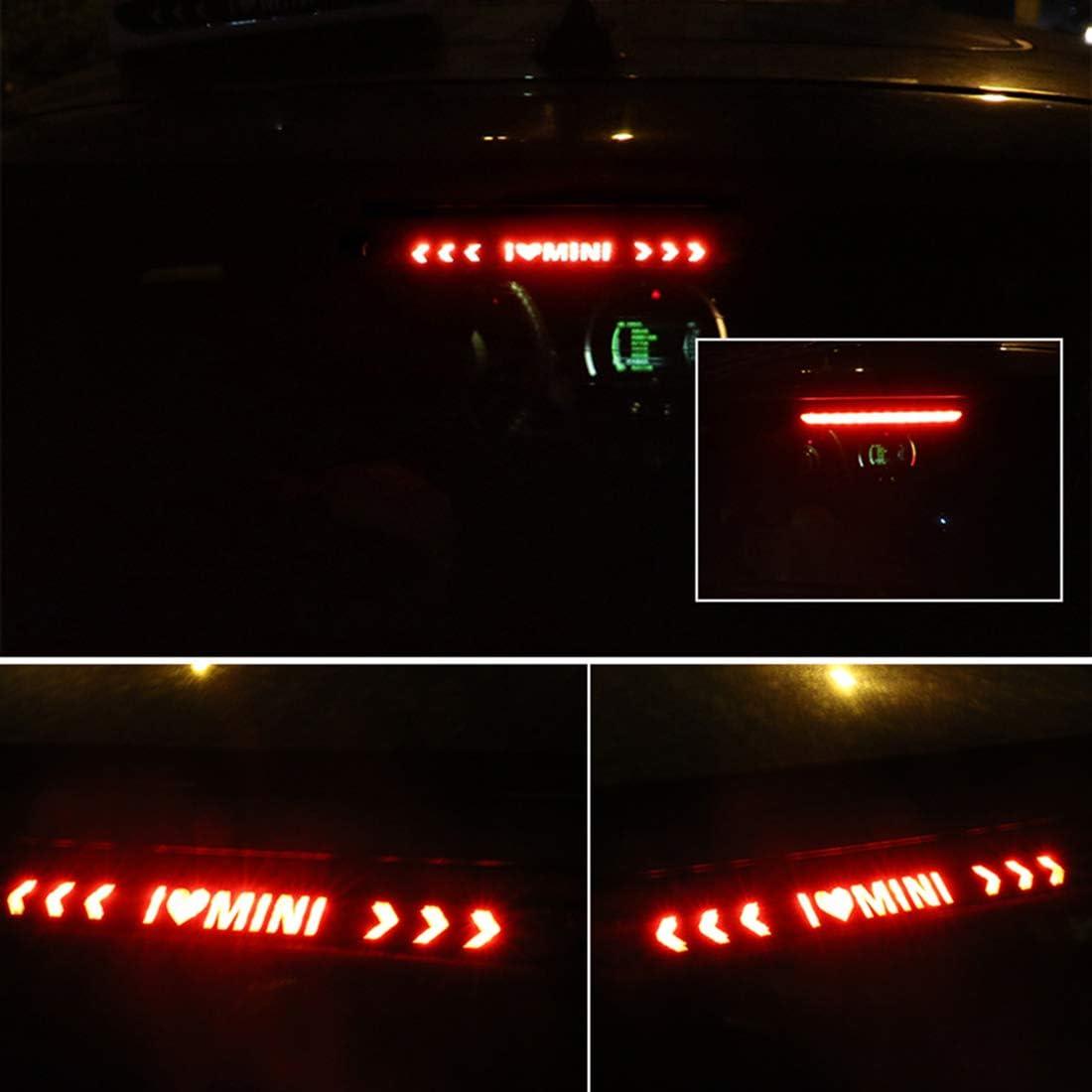 Fibra di Carbonio Decalcomanie Luminose Lampada di Arresto Alto Baule QWASZX Adesivo Luce Freno per Mini Cooper One JCW Countryman Clubman F55 F56 R55 R56 R60 F60