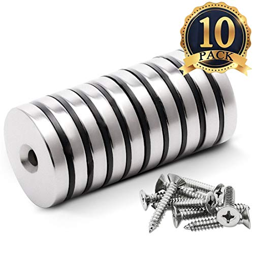 "FINDMAG 10 Pack 1.26""D x 0.2""H Neodymium Disc Countersunk Hole Magnets. Strong, Permanent, Rare Earth Magnets, with 10 Screws"