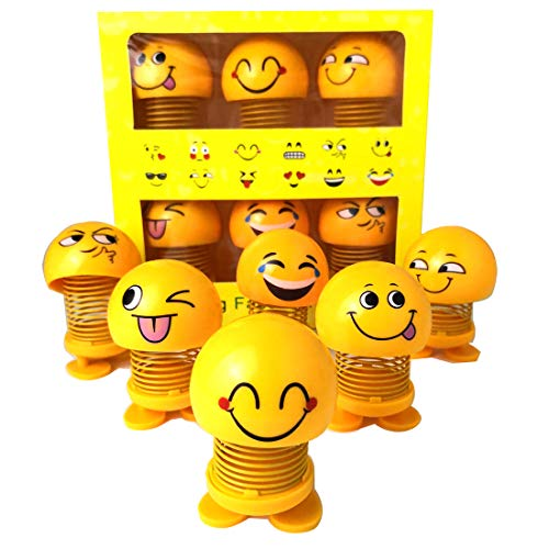 (6 Pcs Cute Emoji Bobble Head Dolls, Funny Smiley Face Springs Dancing Toys for Car Dashboard Ornaments, Party Favors, Gifts, Home Decorations)
