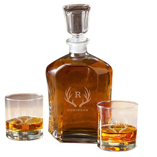 Personalized Whiskey Decanter Set with 2 Low Ball Glasses - Antler