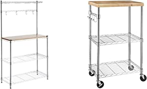 "AmazonBasics Kitchen Storage Baker's Rack with Table, Wood/Chrome - 63.4"" Height & Kitchen Rolling Microwave Cart on Wheels, Storage Rack, Wood/Chrome"