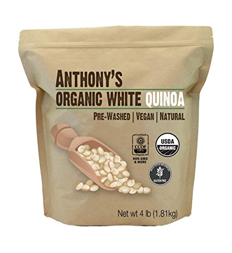 White Whole Grain Quinoa  4Lbs  Organic By Anthonys   Gluten Free   Non Gmo