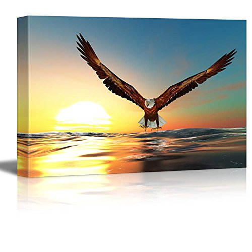 wall26 - Canvas Prints Wall Art - Bald Eagle Flying Above The Sea | Modern Wall Decor/Home Decoration Stretched Gallery Canvas Wrap Giclee Print. Ready to Hang - 24