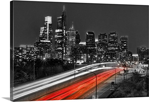 phia Philly Skyline NIGHT Art 16 inches x 24 inches B&W Black and White Red Lights City Downtown Photographic Print Photo Picture ()