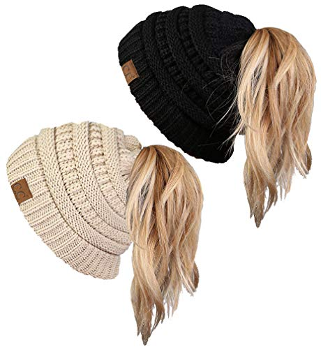 BT-6020a-2-0660 Solid Messy Bun Beanie Tail Bundle - 1 Black, 1 Beige (2 Pack) (Ponytail Fake Ball Cap)