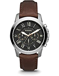 Fossil Men's Grant Quartz Stainless Steel and Leather Chronograph Watch, Color: Silver-Tone, Brown (Model: FS4813)