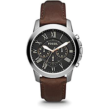 Fossil Mens Grant Quartz Stainless Steel and Leather Chronograph Watch, Color: Silver-Tone, Brown (Model: FS4813)